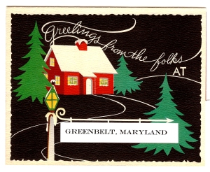 Art for front of Greenbelt Museum holiday card 2013
